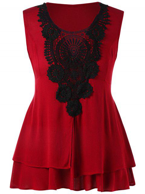 95612093c00de4 41% OFF] 2019 Plus Size Lace Trim Tiered Peplum Tank Top In RED ...