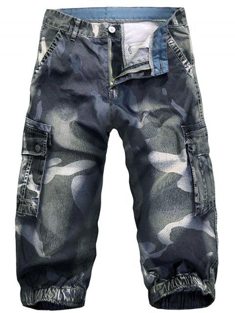 Multi-pocket Camo Print Loose Cargo Shorts - DENIM BLUE 32