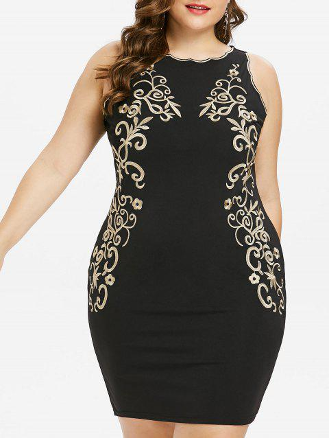 Plus Size Hourglass Embroidery Tight Dress - BLACK 4XL