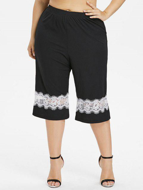 Plus Size Lace Panel Wide Leg Capri Pants - BLACK 1X