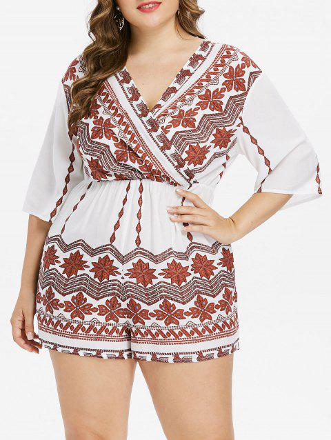 Plus Size Tribal Print Surplice Romper - WHITE L
