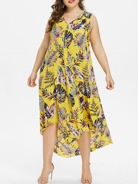 Plus Size Drape Front Tropical Print Flowing Dress - CORN YELLOW L