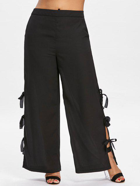 High Waisted Plus Size Wide Leg Pants - BLACK 2X