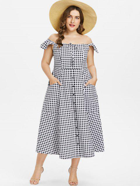 Plus Size Gingham A Line Dress - BLACK L