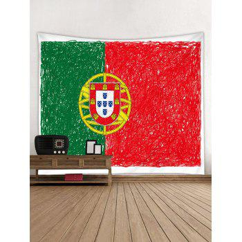 Portuguese Flag Print Wall Decor Tapestry - RED W91 INCH * L71 INCH