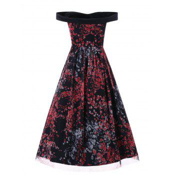 Off The Shoulder Floral Vintage Dress - multicolor L
