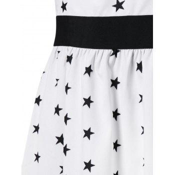 Stars Printed Cold Shoulder Casual Dress - WHITE M