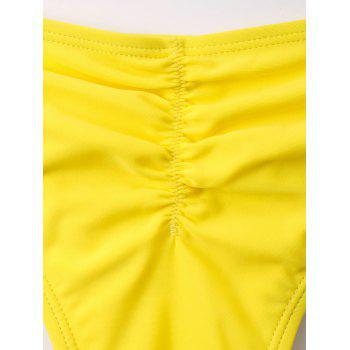 Tie Front Printed Scrunch Bikini - YELLOW 2XL