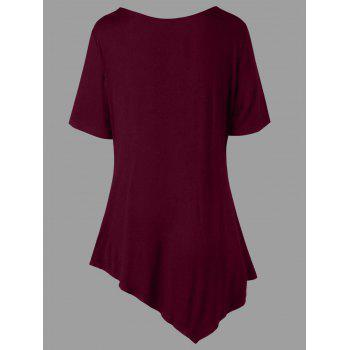 Plus Size V Neck Asymmetric T-shirt - RED WINE 2XL