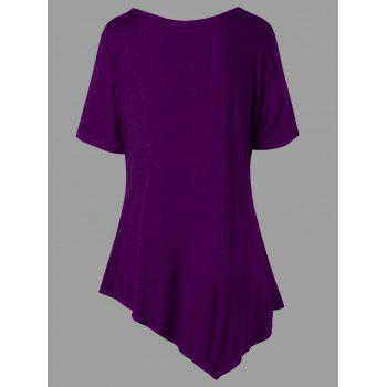 Plus Size V Neck Asymmetric T-shirt - PURPLE JAM 2XL