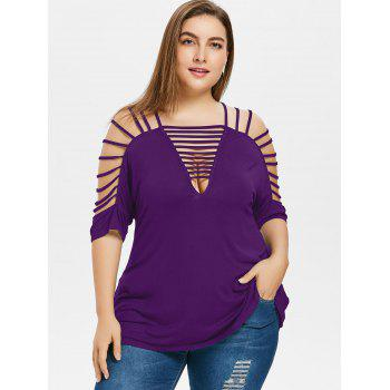 Plus Size Cut Out Strappy T-shirt - PURPLE AMETHYST 4XL