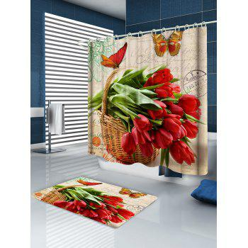 Flowers and Butterfly Print Waterproof Shower Curtain - multicolor W71 INCH * L79 INCH
