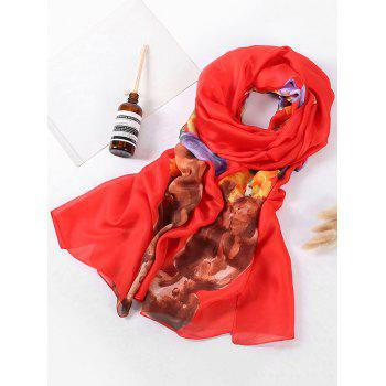 Vase of Floral Printed Silky Long Scarf - LOVE RED
