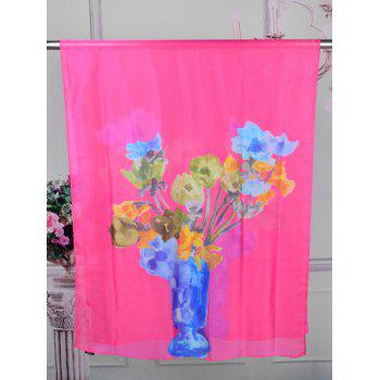 Vase of Floral Printed Silky Long Scarf - ROSE RED