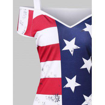 Cold Shoulder American Flag Mini Dress - multicolor XL