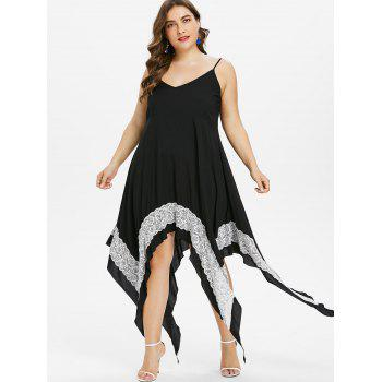 Plus Size Handkerchief Hem Summer Dress - BLACK 2XL
