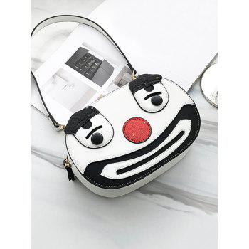 PU Leather Clown Pattern Crossbody Bag - WHITE