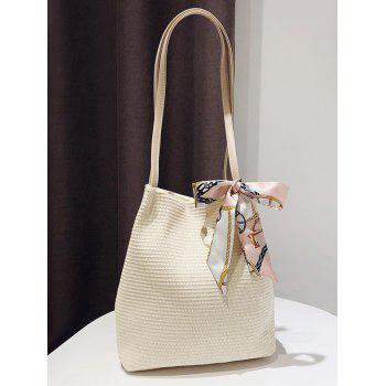 Bowknot Scarf Straw Shoulder Bag for Holiday - WHITE