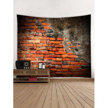 Old Broken Brick Wall Print Wall Tapestry - multicolor W91 INCH * L71 INCH