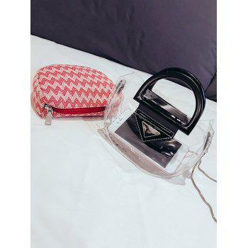 Contrasting Color 2 Pieces Transparent Handbag Set - PINK