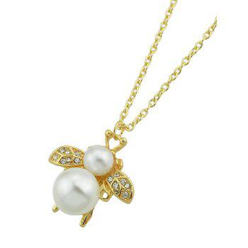 Bee Shaped Rhinestone Faux Pearl Hanging Necklace - GOLD