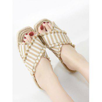 Striped Straw Leisure Slippers - APRICOT 36