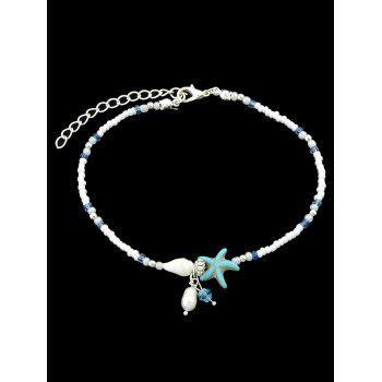Beads Artificial Pearl Starfish Shell Decoration Anklets - multicolor