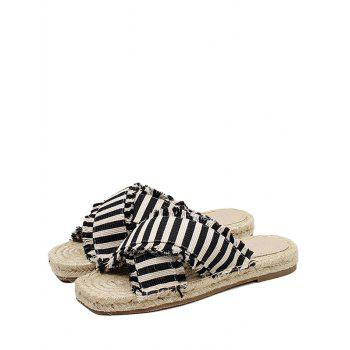 Striped Straw Leisure Slippers - BLACK 40