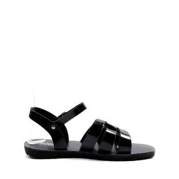 Leisure Vacation Cross Flat Heel Sandals - BLACK 35