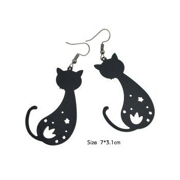 Cat Shaped Star Hollow Cut Drop Earrings - BLACK