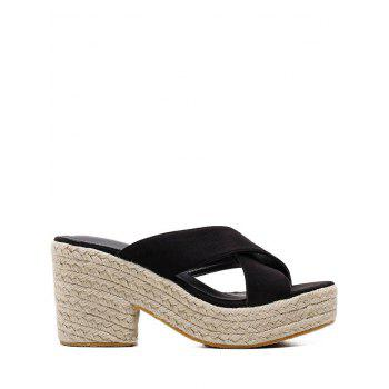 Espadrille Platform Crisscross Casual Sandals - BLACK 36