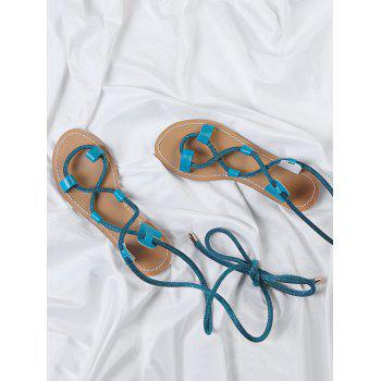 Lace Up Ankle Wraped Leisure Sandals - BLUE IVY 38