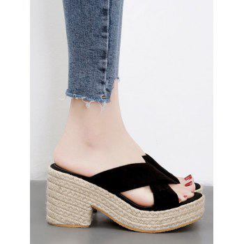 Espadrille Platform Crisscross Casual Sandals - BLACK 39