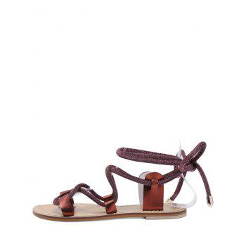 Lace Up Ankle Wraped Leisure Sandals - RED WINE 35