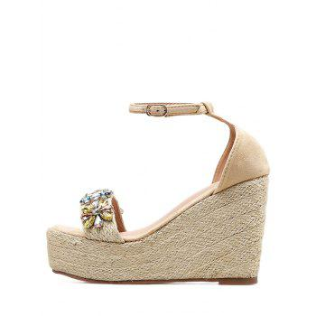 Ankle Strap Faux Crystal Floral Wedge Heel Sandals - APRICOT 36