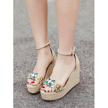 Ankle Strap Faux Crystal Floral Wedge Heel Sandals - APRICOT 37