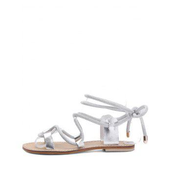 Lace Up Ankle Wraped Leisure Sandals - SILVER 36