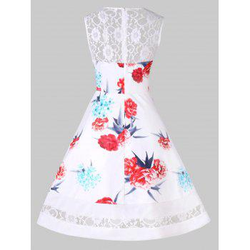 Vintage Floral Lace Insert Pin Up Dress - WHITE L
