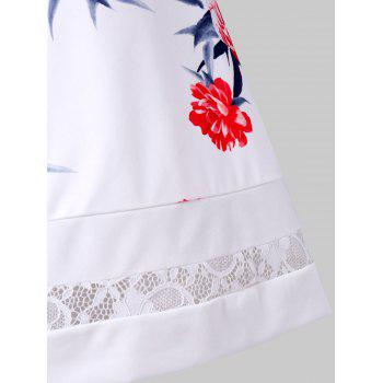 Vintage Floral Lace Insert Pin Up Dress - WHITE 2XL