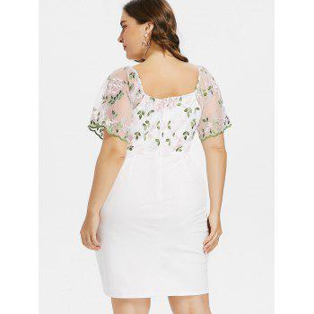 Plus Size Bell Sleeve Embroidery Mini Dress - WHITE 4XL