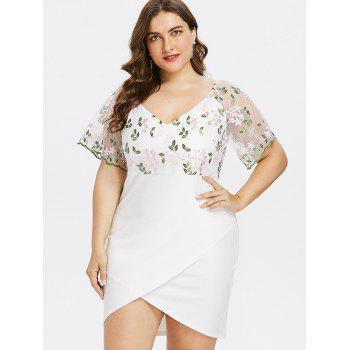 Plus Size Bell Sleeve Embroidery Mini Dress - WHITE XL