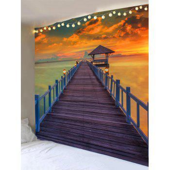 Sunset Ocean Bridge Print Tapestry Wall Art - multicolor W79 INCH * L59 INCH