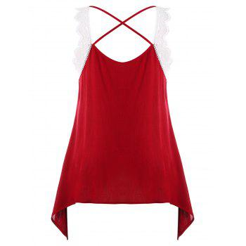 Plus Size Criss Cross Crescent Hem Tank Top - RED WINE L