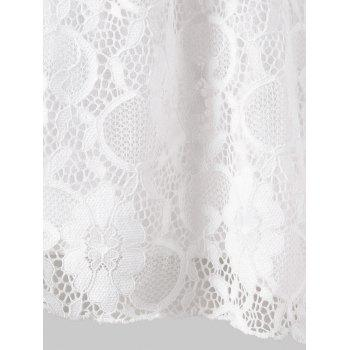 Plus Size High Low Lace Tank Top - WHITE 4X