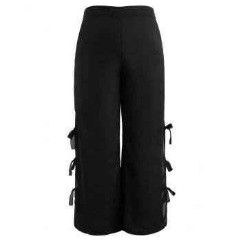 High Waisted Plus Size Wide Leg Pants - BLACK 1X
