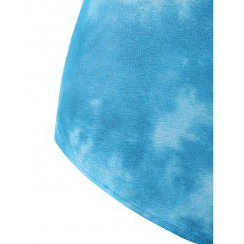 Plus Size Tie Dye Embellished Tank Top - LIGHT SKY BLUE 4X