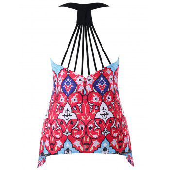 Plus Size Racerback Strappy Tank Top - RED 5X