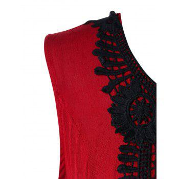 Plus Size Lace Trim Tiered Peplum Tank Top - RED L