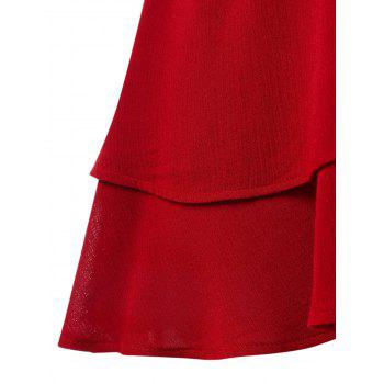 Plus Size Lace Trim Tiered Peplum Tank Top - RED 1X