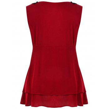 Plus Size Lace Trim Tiered Peplum Tank Top - RED 2X